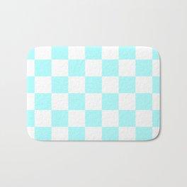 Checkered - White and Celeste Cyan Bath Mat