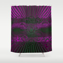 Wild Emerald Green Purple Circle 3D Abstract Shower Curtain