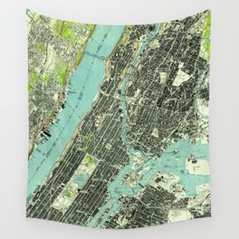 Vintage Central Park & Bronx NY Map (1947) Wall Tapestry