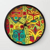 tiki Wall Clocks featuring Tiki tiki by Binnyboo