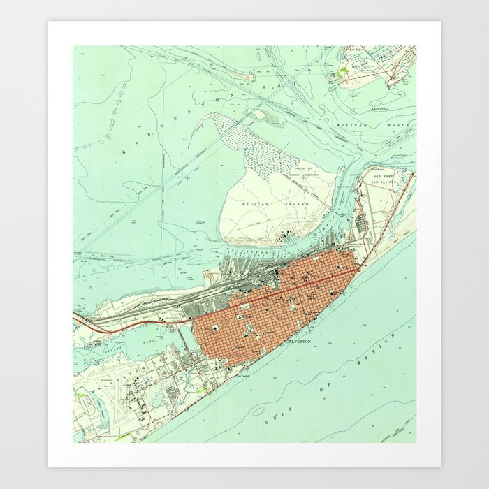 Vintage Map of Galveston Texas (1954) 3 Art Print by vuramedia on velasco texas map, el paso texas map, la marque texas map, galveston island, san leon texas map, port arthur texas map, webster texas map, texas coastline map, new braunfels texas map, gonzales texas map, galveston bridge, nacogdoches texas map, gainesville texas map, san antonio texas map, harlingen texas map, galveston cruise terminal, beaumont texas map, kemah texas map, houston map, corpus christi map,
