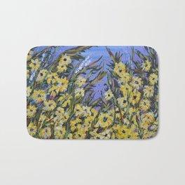 Finding Susan, Abstract Art, Yellow Flowers Bath Mat