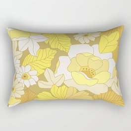 Yellow, Ivory & Brown Retro Flowers Rectangular Pillow