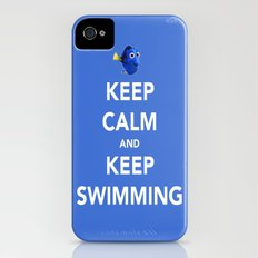 Keep Calm And Keep Swimming iPhone (4, 4s) Slim Case