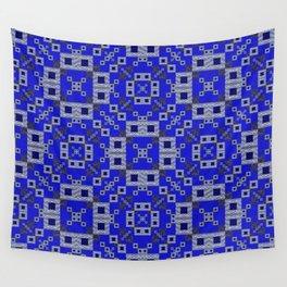 Vibrant Blue Indigo Grey Futuristic Quilt Print Wall Tapestry
