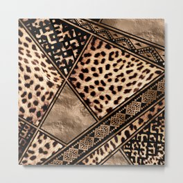 Cheetah Fur with Ethnic Ornaments Metal Print