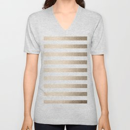 Simply Striped in White Gold Sands Unisex V-Neck