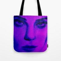sky ferreira Tote Bags featuring Fuchsia Ferreira  by TAHREEM