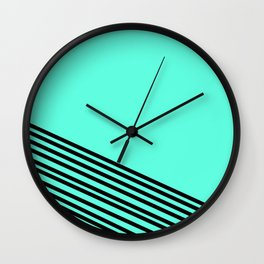 Blue Black Striped  Wall Clock