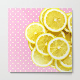 Candy Pink and Lemon Polka Dots Metal Print