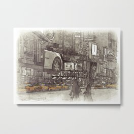 NYC Yellow Cabs Times Square - SKETCH Metal Print