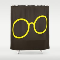 glasses Shower Curtains featuring Glasses by Haitham Almayman