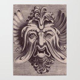 Ornate vintage monstrous face Poster