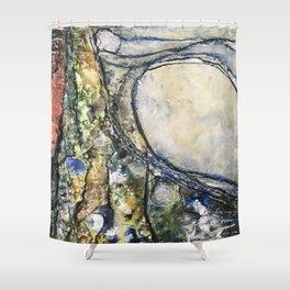 Dancing Dunes I - Mixed Media Beeswax Encaustic Modern Fine Art, 2015 Shower Curtain