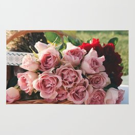 Red and Pink Roses in Basket Rug