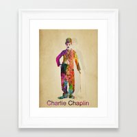 charlie chaplin Framed Art Prints featuring charlie chaplin by mark ashkenazi