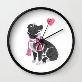Watercolour Border Collie Wall Clock