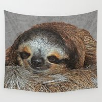 sloth Wall Tapestries featuring SLOTH LOVE by Catspaws