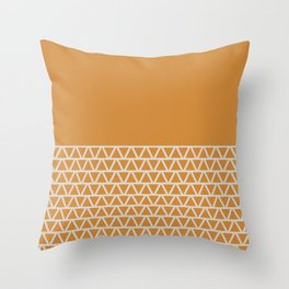 Triangles Pattern, Ochre on Cream Throw Pillow