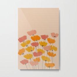 Summertime Flowers On Beige Metal Print