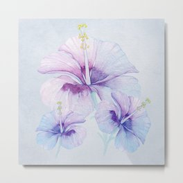 Blue Hawaiian Hibiscus Metal Print