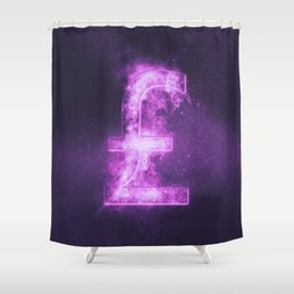 Pound sterling sign, Pound sterling Symbol. Monetary currency symbol. Abstract night sky background. Shower Curtain