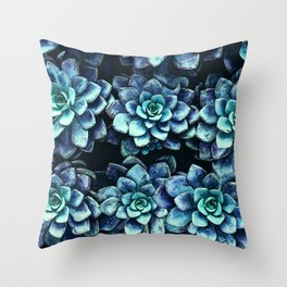 Blue And Green Succulent Plants Throw Pillow