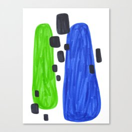 Lime Green Blue Mid Century Modern Abstract Minimalist Art Colorful Shapes Vintage Retro Style Canvas Print