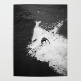 Black and White Wave Surfer Poster