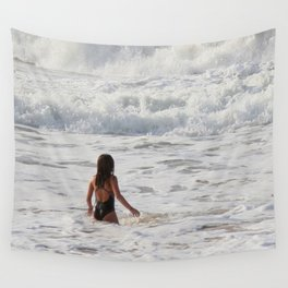 Breaking wave and girl Wall Tapestry