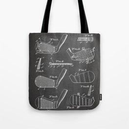 Golf Clubs Patent - Golfing Art - Black Chalkboard Tote Bag