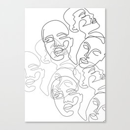 Lined Face Sketches Canvas Print