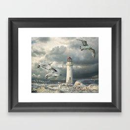 Gulls at Perch Rock Framed Art Print