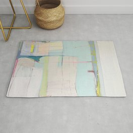 """""""over flow"""" abstract painting in robin's egg, mint, blush, white, and yellow Rug"""