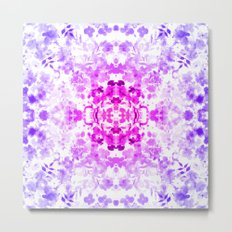Floral Print - Magenta & Purple Metal Print