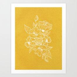 Scandinavian Brushed Gold Floral Ornament | Tropical Line Art Art Print