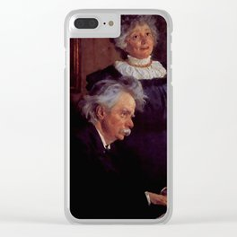 Edvard Grieg (1843 – 1907) accompanying his wife by Peder Severin Kroyer (1851-1909) Clear iPhone Case