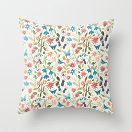 Origami insects and paper cut flowers Throw Pillow