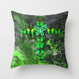 Emerald Fire Cross Throw Pillow