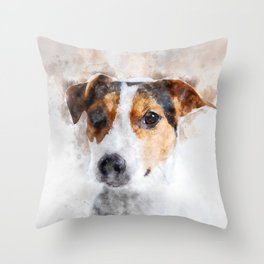 Jack Russell Watercolor Art Throw Pillow