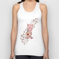 piglet Tank Tops featuring Piglet Loves Coffee by DMiller
