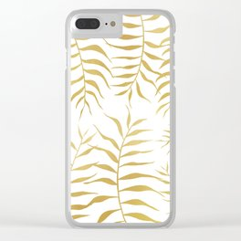 Gold palm leaves Clear iPhone Case
