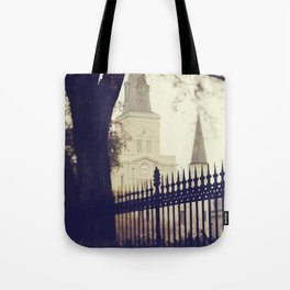 St Louis Cathedral through the trees Tote Bag