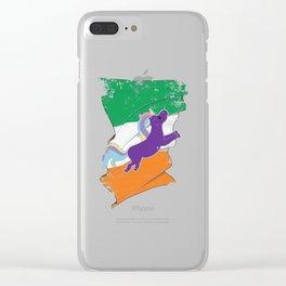 Distressed Irish Flag St Patricks Unicorn Clear iPhone Case