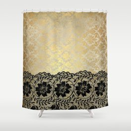 Black floral luxury lace on gold damask pattern Shower Curtain