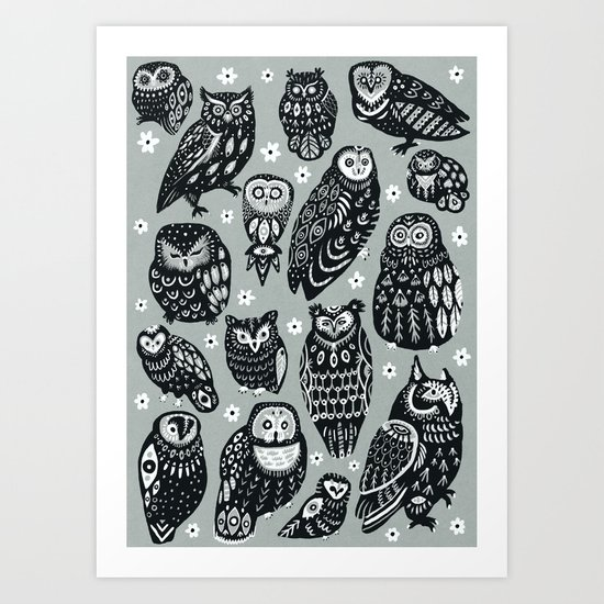 Flock of Owls Art Print