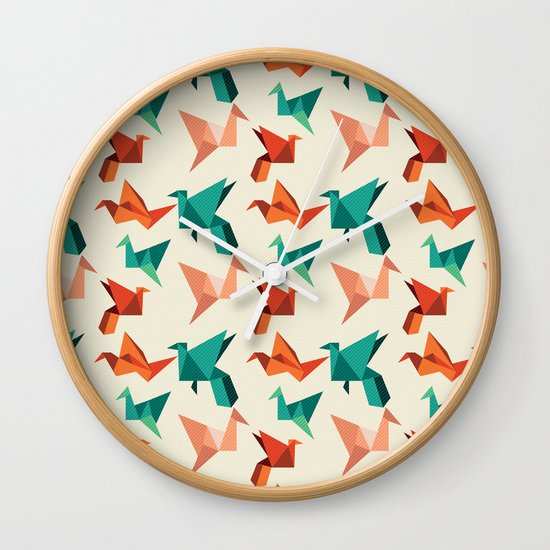 teal paper cranes Wall Clock