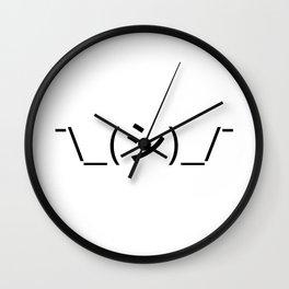 Oops Shrug Emoticon ¯\_(シ)_/¯ Japanese Kaomoji Wall Clock