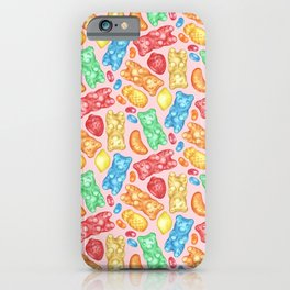 Gummies Galore - A happy array of rainbow of hand-drawn fruity flavored gummies and jelly beans iPhone Case