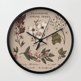 Flowering Spring Trees Wall Clock